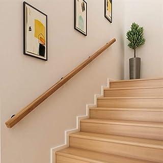 Main courante murale en bois de h/être teint/é sur weng/é /Ø 42,4 mm 280 cm 3 supports obliques 45/°