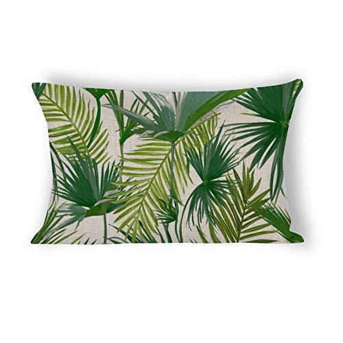 happygoluck1y Fundas de cojín rectangulares de hojas de palma tropicales, sin costuras, 40 x 60 cm, funda de cojín lumbar para sofá, oficina, silla, decoración de casa de campo