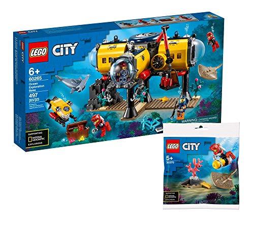 Collectix Lego Set - Lego City Meeresforschungsbasis 60265 + City Tiefseetaucher 30370 (Polybag), Geschenkset ab 6 Jahren