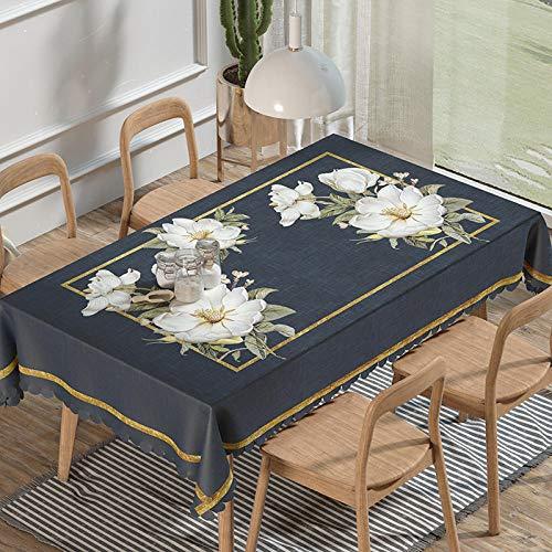 ZXCN Manteles de Mesa con Efecto Lavable Anti Escaldado Suave y Espeso Resistente a La Suciedad Impermeable Negro 137×220cm