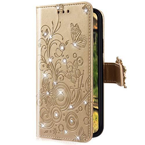 Uposao Kompatibel mit Xiaomi Redmi Note 6 Pro Handyhülle Schmetterling Blumen Muster Diamant Strass Bling Glitzer Leder Wallet Schutzhülle Brieftasche Leder Hülle Klapphülle Brieftasche Tasche,Gold