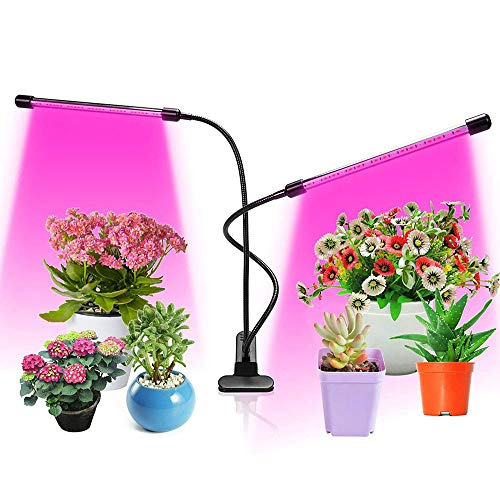 ZMHS LED Grow Light, 18W Dual Head Timing LED 5 Dimmable Levels Plant Grow Lights for Indoor Plants with Red Blue Spectrum, Adjustable Gooseneck