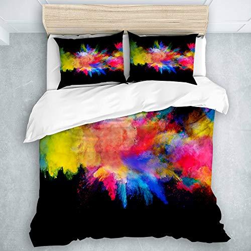 TARTINY Bedding Bedrucktes Bettbezug-Sets Blaue Farbexplosion des farbigen Pulver-Gelb-Spritzens Mikrofaser Kinder Student Schlafsaal Bettwäsche Set