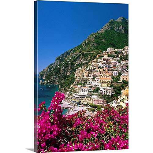 "Italy, Campania, Peninsula of Sorrento, Positano, View of The Town Canvas Wall Art Print, 12"" x1."
