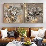 HYY-YY Flor de Plata Dorada Pintura al óleo Abstracta Moderna Arte de Pared póster Cuadro Banksy Cuadros Sala de Estar decoración del hogar 23.6'x 23.6' (60x60cm) x2 sin Marco