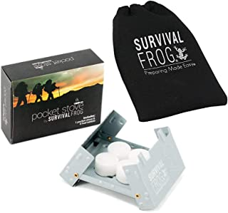 Pocket Stove Folding Emergency Camping Stove + 18 Solid Fuel Hexamine Tablets & Drawstring Storage Bag - Fuel Tabs Store Inside Folded Stove, Ultra Lightweight & Easy to Use by Frog & Co.