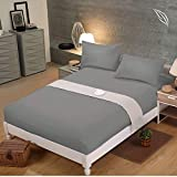 Shenaaya Fitted Sheet   Brushed Microfibre 16 inch(40cm) Extra Deep Pocket with All-Around Elastic, Breathable, Anti-Wrinkle   Soft and Comfy Bed Sheet   Double Fitted Sheet, 135x190cm, Grey
