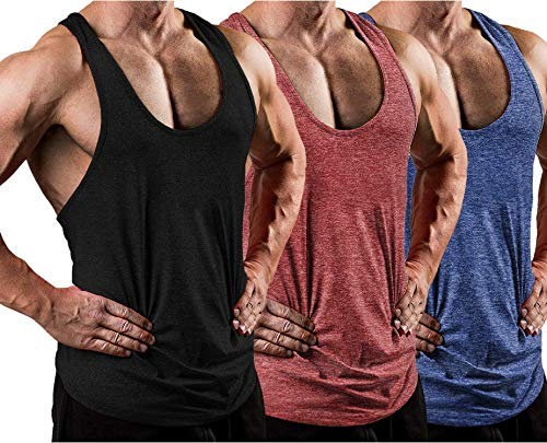 COOFANDY Mens 3 Pack Dry Fit Y-Back Workout Tank Tops Athletic Mesh Sleeveless Gym Shirts Muscle Fitness Shirts