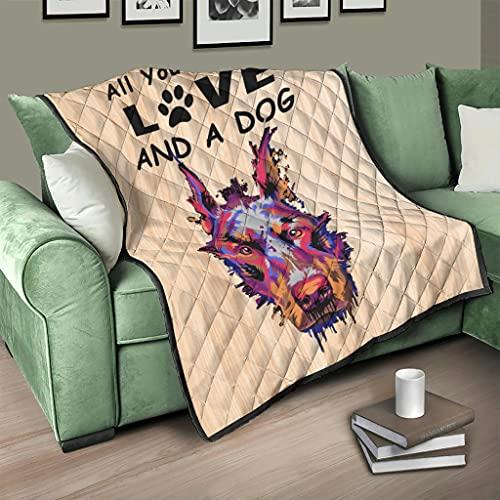 Colcha de Dobermann Pinscher todo lo que necesitas es amor y un perro, manta suave y cálida, para dormitorio, 100 x 150 cm, color blanco