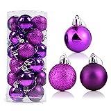 Sursflog 24 adornos de bolas de Navidad moradas para decoraciones de Navidad, bolas de 4 cm para árbol de Navidad irrompibles con lazo para colgar para decoración de fiestas de boda (3 estilos)