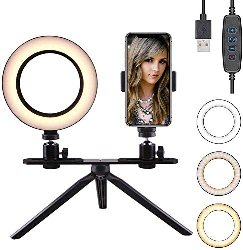 AJH 6inch LED Ring Light avec Support pour téléphone, Table Ring Camera Selfie Light USB Dimmable Small Circle Lamp Makeup Youtube Video Shooting Selfie Live Stream