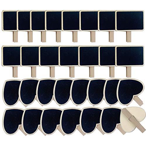 30 psc Mini Pizarras Decorativas 15 psc Etiqueta Pizarra Madera Rectangular con 15 pcs Pizarras Pequeñas en Forma Corazón para Decoración Boda Nombre Mensajes Pinza Clip de Pizarra Negra