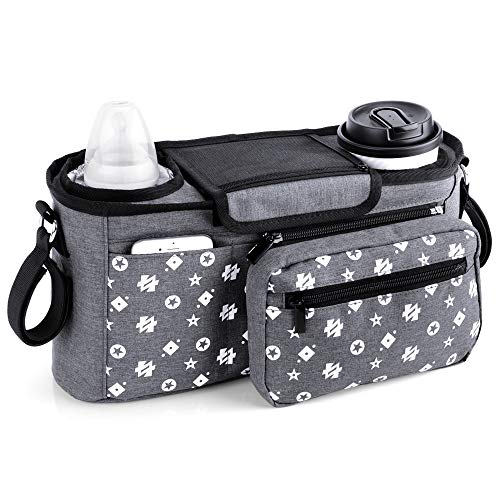 Pram Buggy Organiser tas met geïsoleerde bekerhouders, kinderwagen Pushchair opslag Caddy voor baby accessoires - universele pasvorm alle Buggy modellen (grijs)