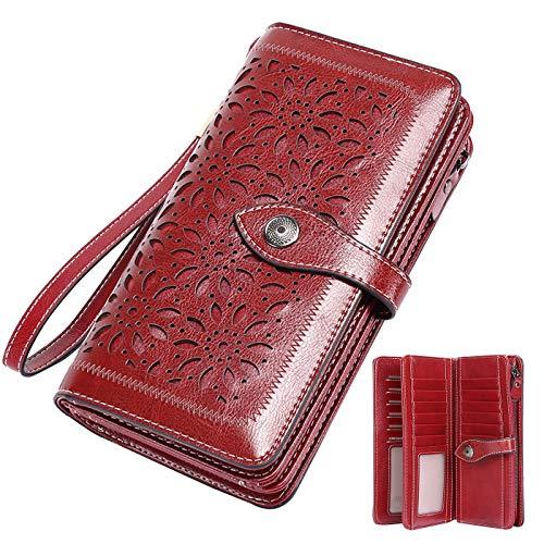Vintage Geldbörse Damen Leder Gross, RFID Schutz Damen Portemonnaie Groß Viele Fächer, Geldbeutel Damen Gross mit 26 Kartenfächer mit Handyfach (Rot)