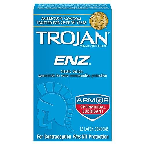 Trojan ENZ Spermicidal Lubricated, (Pack of 4), (48 Total Condoms)