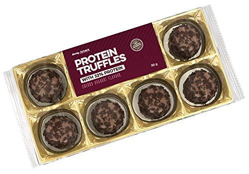 Body Attack Protein Truffles - High Protein Schokolade, ballaststoffreich, zuckerarm und palmölfrei (Cherry-Yoghurt, 10 x 80g)