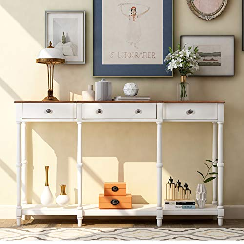 QCUTEP Console Table Sofa Table with 3 Drawers Classic Entryway Table with Storage Shelf and Drawer for Entryway Hallway Living Room(Ivory)
