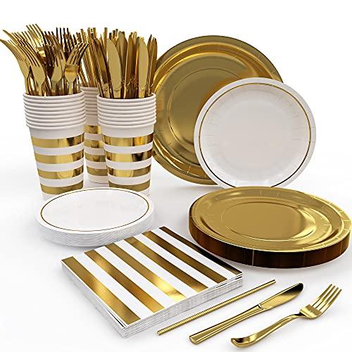 Juego de platos y servilletas de papel para fiesta para 25 invitados - Juego de vajilla desechable para fiesta dorada - Platos de papel dorado Vasos Servilletas Tenedores Cuchillos Pajitas - Juego de vajilla para fiesta de 175 piezas