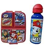 CM Set Botella de Agua de Aluminio Infantil y Fiambrera con 3 Compartimentos para Colocar los almuerzos - para niñas, cantimplora a Prueba de Fugas sin BPA 550ml (Azul-PATR)