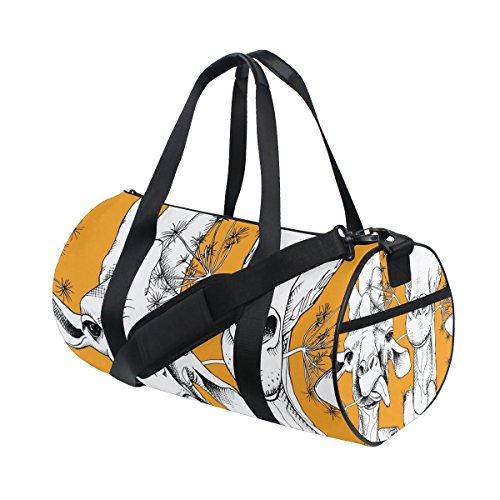 ISAOA - Bolsa de deporte para mujer y hombre, diseño de ciervo, color naranja