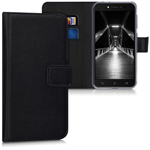 kwmobile Asus ZenFone Live (ZB501KL) Hülle - Kunstleder Wallet Case für Asus ZenFone Live (ZB501KL) mit Kartenfächern & Stand - Schwarz