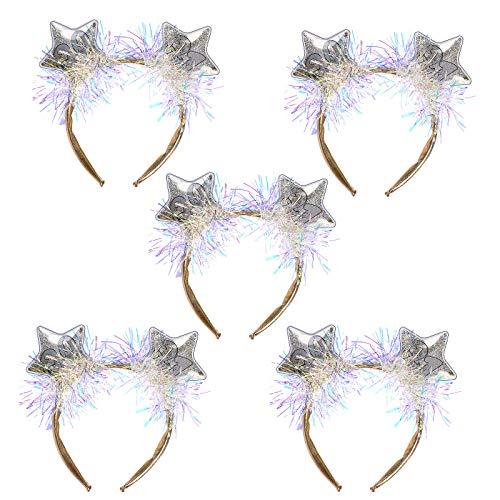 GREEN&RARE Diadema para mujer y nios, diseo de estrella de cinco puntas 2021, colorido espumilln elstico para el pelo, accesorio para fiestas de Ao Nuevo, regalo de joyera de moda