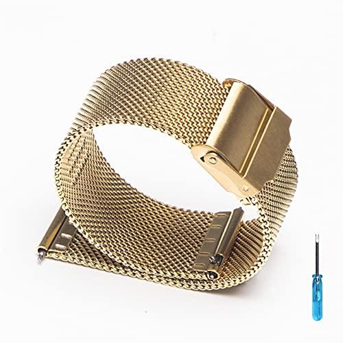 Banda de metal de 20 mm 22mm para Samsung Galaxy Watch 3 / 46mm / 42mm / engranaje S3 Pulsera Huaw Watch GT 2 Correa profesional 1033 (Band Color : Gold, Size : For huaw gt 2 46mm)