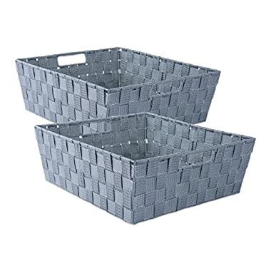 DII Durable Trapezoid Woven Nylon Storage Bin or Basket for Organizing Your Home, Office, or Closets (Tray - 13x15x5 ) Gray - Set of 2