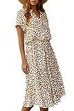Vestido Mujer Bohemio Largo Verano Playa Fiesta Floral/Polka Dot Maxi Vestidos Cóctel Falda Larga Blanco XL