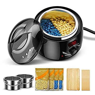 AEVO Waxing Kit, Electric Wax Warmer for Home Hair Removal [LED Display] [2 Wax Containers] [4 Bags of Painless Hard Wax Beads] [20 Wax Applicators] [Body, Bikini, and Face] for Women & Men by Electronic Silk Road Corp