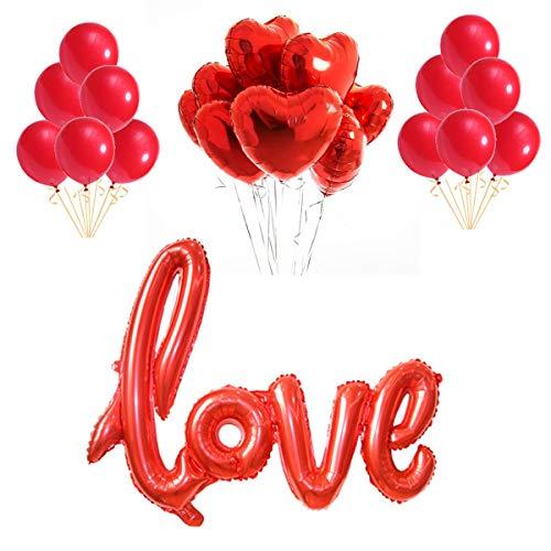 Oumezon rot Luftballon Hochzeit Love Luftballons Folienballon Herz Ballon Hochzeit Latex Luftballons Helium für Geburtstag, Brautdusche, Hochzeit, Valentinstag deko