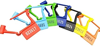 Pack of 100 Disposable Multicolored Luggage Plastic Padlock Seals,Safety Control Seals Numbered (Random Color) (100 PCS)