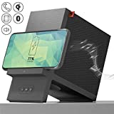 SHARPER IMAGE Wireless Qi Charging Dock with Bluetooth Speaker, Wirelessly Charge Compatible Devices, 10-Watt Fast Charger, Sleek Stand with Finish Protecting Coating, Ultimate Smartphone Accessory