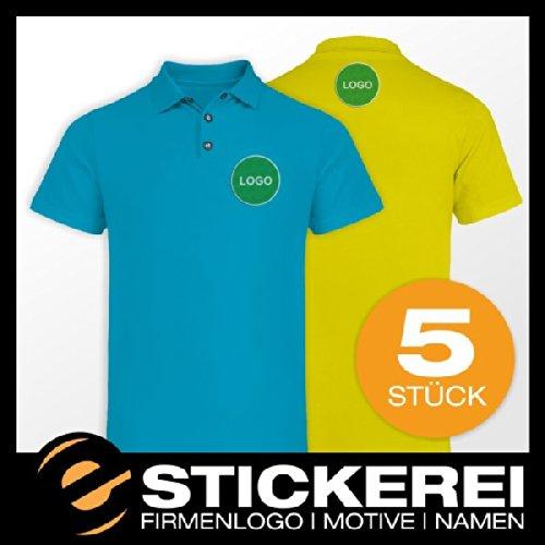 malango® 5x Poloshirt Polo Shirt inkl. Stickerei mit Firmenlogo Logo Motiv Wappen XL giftgrün