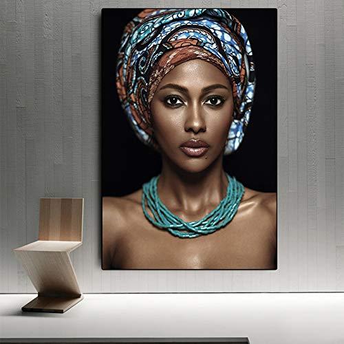 IHlXH African Woman Indian Stirnband Porträt Leinwand Malerei Poster und Drucke Skandinavische Wandkunst Bild für Wohnzimmer A3 60x90 ohne Rahmen