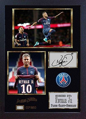 SGH SERVICES Gerahmtes Poster Neymar JR Paris Saint Germain Brasilien Foto Druck Poster Vordruck Foto Druck gerahmt MDF Rahmen Fußball #5