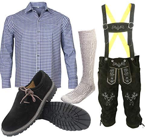 ALL THE GOOD S 12 Trachtenset (Hose + Hemd + Schuhe + Socken) Bayerische Trachtenlederhose Oktoberfest Leder Hose (Hose 50 Hemd L (40/41))