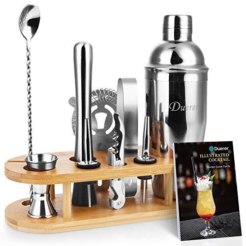 Duerer Barkeeper Kit mit Ständer, 11-teiliges Cocktail-Shaker-Set mit stilvollem Bambusständer, perfektem Home-Bar-Werkzeugset und professionellem Martini-Cocktail-Shaker-Set