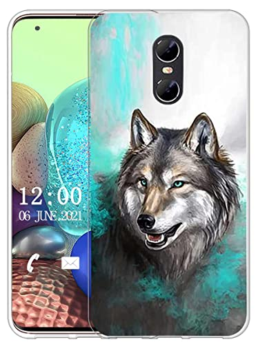 Sunrive Kompatibel mit Ulefone Gemini Hülle Silikon, Transparent Handyhülle Schutzhülle Etui Hülle (X Wolf 1)+Gratis Universal Eingabestift MEHRWEG