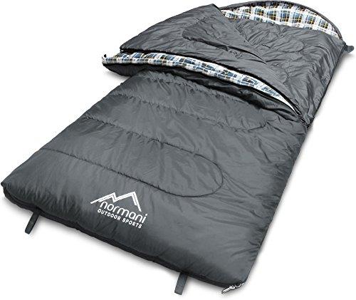normani 4-in-1-Funktion Extrem Outdoor Schlafsack \'Antarctica\' aus Nylon Rip-Stop mit 500 + 250 g/m² Hollow Fiber Füllung 220 x 90 cm Farbe Grau Größe Links