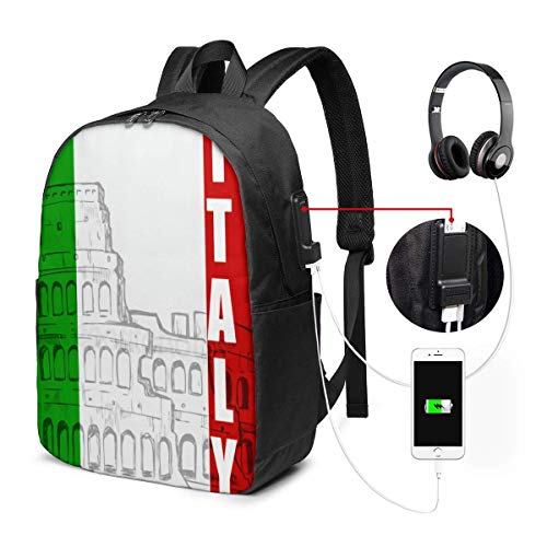 Rucksack mit USB-Schnittstelle Travel Laptop Backpack with USB College School Computer Bag Gifts for Women & Men Fits Italian Flag Roman Colosseum