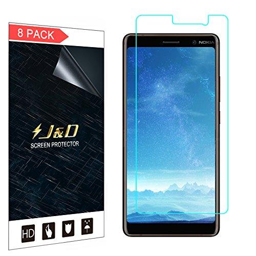 J&D Compatible para 8 Paquetes Nokia 7 Plus Protector de Pantalla, [NO Cobertura Completa] Prima Escudo de Película Transparente HD Protector de Pantalla para Nokia 7 Plus