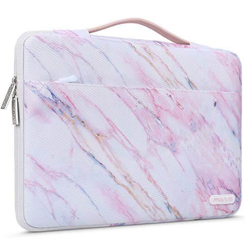 MOSISO Laptop Sleeve 360 Protective Case Bag Compatible with MacBook Pro 16 inch A2141, 15 15.4 15.6 inch Dell Lenovo HP Asus Acer, Polyester Cross Grain Marble Shockproof Handbag with Trolley Belt