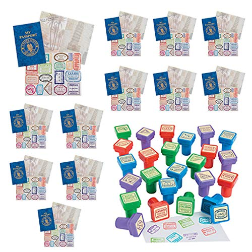 12 Passport Books with Stickers and 24 Stampers for Kids - Geography Games, World Stamps, Travel Stickers, Educational Toys, Teacher Stamps, Travel Theme Party Favors - Social Studies for Children