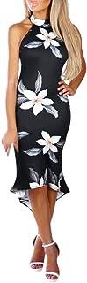 GLVSZ Floral Print Off-Shoulder Draped Hem Evening Sleeve Midi Dress Lady
