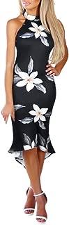 Bodycon Midi Dress Women Off Shouder Blooming Babe Floral Dip Hem Evening Dress Black