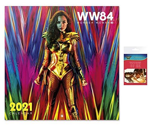 1art1 Wonder Woman, WW 84 DC Comics Calendario Oficial 2021 (30x30 cm) con 1x Tarjeteros para Tarjetas De Crédito (10x7 cm)