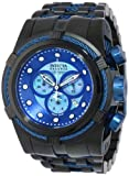 Invicta Men's Bolt Quartz Watch with Blue Dial Chronograph Display and Black Stainless Steel Bracelet 12735