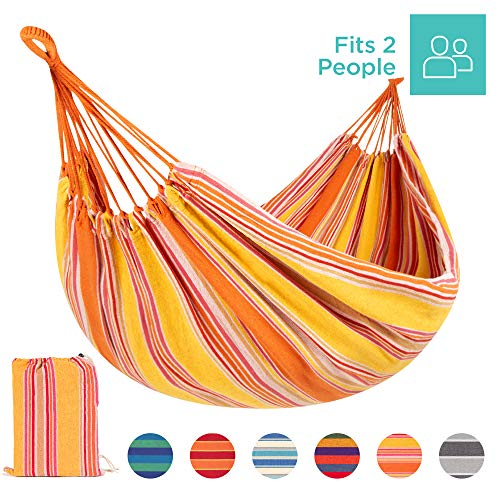 Best Choice Products 2-Person Indoor Outdoor Brazilian-Style Cotton Double Hammock Bed w/Portable Carrying Bag – Sunset