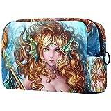 Bolsa de cosméticos para mujer, adorables bolsas de maquillaje espaciosas para viajes, neceser de viaje, regalo de anime sirena de fantasía de hadas